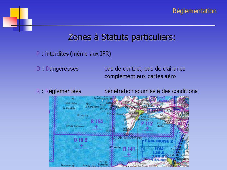 Réglementation Zones à Statuts particuliers: P : interdites (même aux IFR) D : Dangereuses pas de contact, pas de clairance complément aux cartes aéro