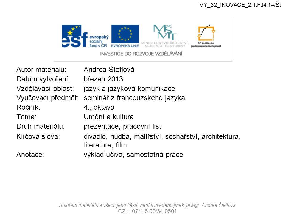 Autor materiálu:Andrea Šteflová Datum vytvoření:březen 2013 Vzdělávací oblast:jazyk a jazyková komunikace Vyučovací předmět:seminář z francouzského ja