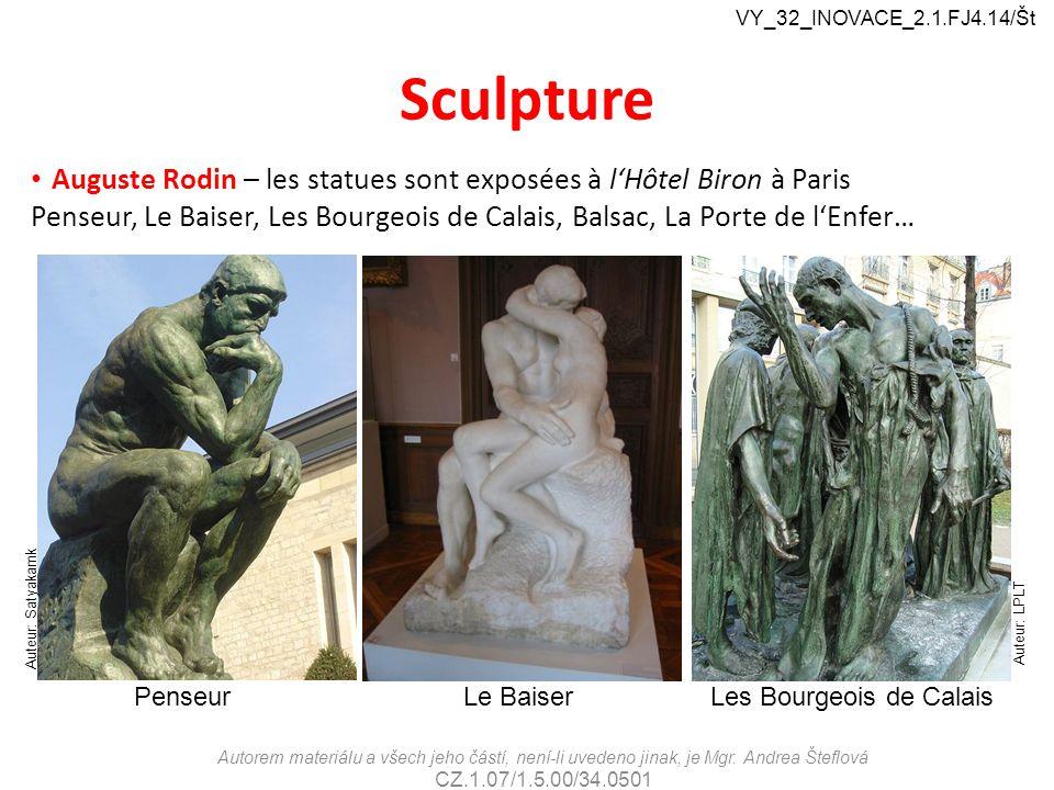 Sculpture Auguste Rodin – les statues sont exposées à l'Hôtel Biron à Paris Penseur, Le Baiser, Les Bourgeois de Calais, Balsac, La Porte de l'Enfer…