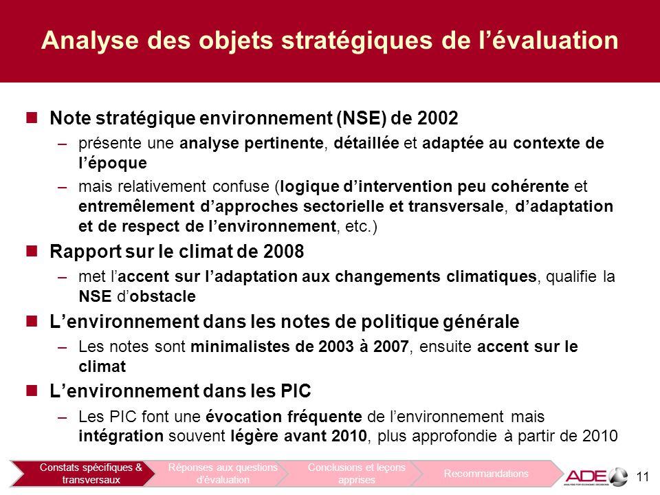 11 Analyse des objets stratégiques de l'évaluation Note stratégique environnement (NSE) de 2002 –présente une analyse pertinente, détaillée et adaptée au contexte de l'époque –mais relativement confuse (logique d'intervention peu cohérente et entremêlement d'approches sectorielle et transversale, d'adaptation et de respect de l'environnement, etc.) Rapport sur le climat de 2008 –met l'accent sur l'adaptation aux changements climatiques, qualifie la NSE d'obstacle L'environnement dans les notes de politique générale –Les notes sont minimalistes de 2003 à 2007, ensuite accent sur le climat L'environnement dans les PIC –Les PIC font une évocation fréquente de l'environnement mais intégration souvent légère avant 2010, plus approfondie à partir de 2010 Constats spécifiques & transversaux Réponses aux questions d'évaluation Conclusions et leçons apprises Recommandations