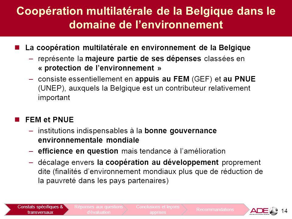 14 Coopération multilatérale de la Belgique dans le domaine de l'environnement La coopération multilatérale en environnement de la Belgique –représente la majeure partie de ses dépenses classées en « protection de l'environnement » –consiste essentiellement en appuis au FEM (GEF) et au PNUE (UNEP), auxquels la Belgique est un contributeur relativement important FEM et PNUE –institutions indispensables à la bonne gouvernance environnementale mondiale –efficience en question mais tendance à l'amélioration –décalage envers la coopération au développement proprement dite (finalités d'environnement mondiaux plus que de réduction de la pauvreté dans les pays partenaires) Constats spécifiques & transversaux Réponses aux questions d'évaluation Conclusions et leçons apprises Recommandations