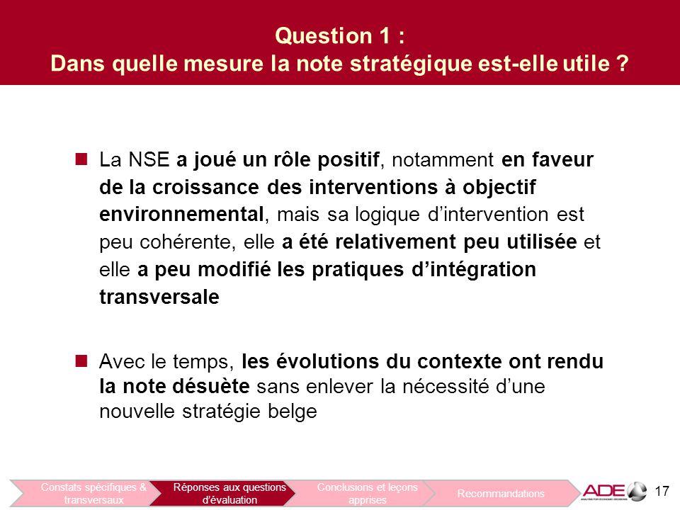 17 Question 1 : Dans quelle mesure la note stratégique est-elle utile .
