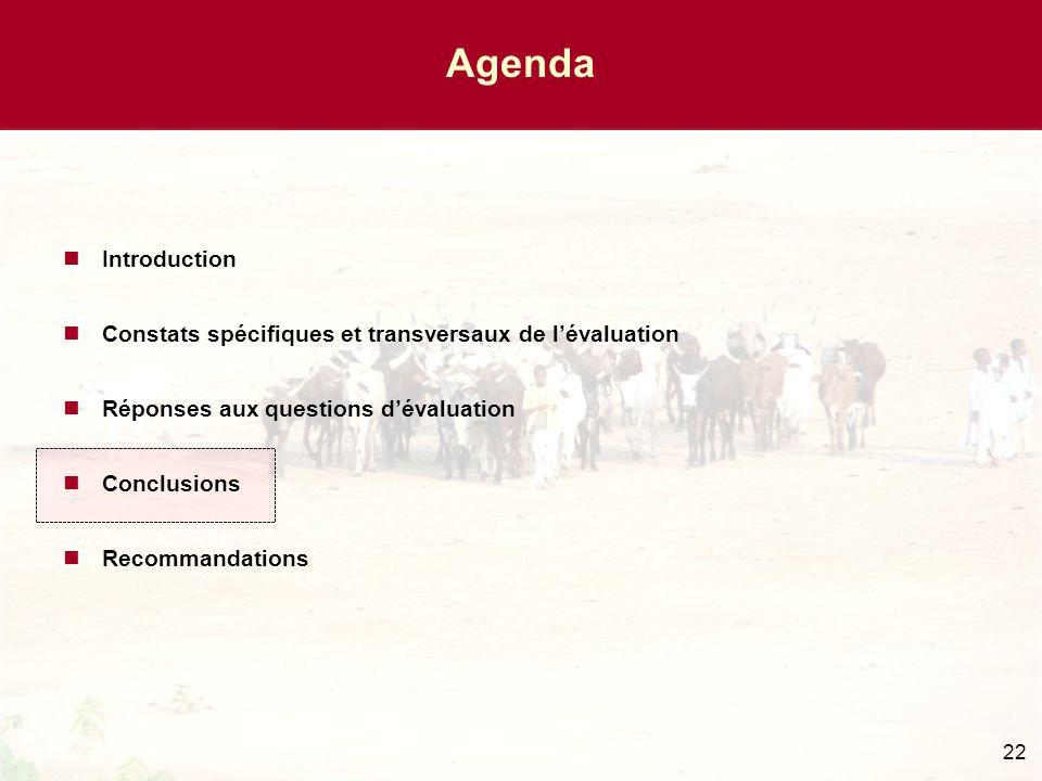 22 Agenda Introduction Constats spécifiques et transversaux de l'évaluation Réponses aux questions d'évaluation Conclusions Recommandations