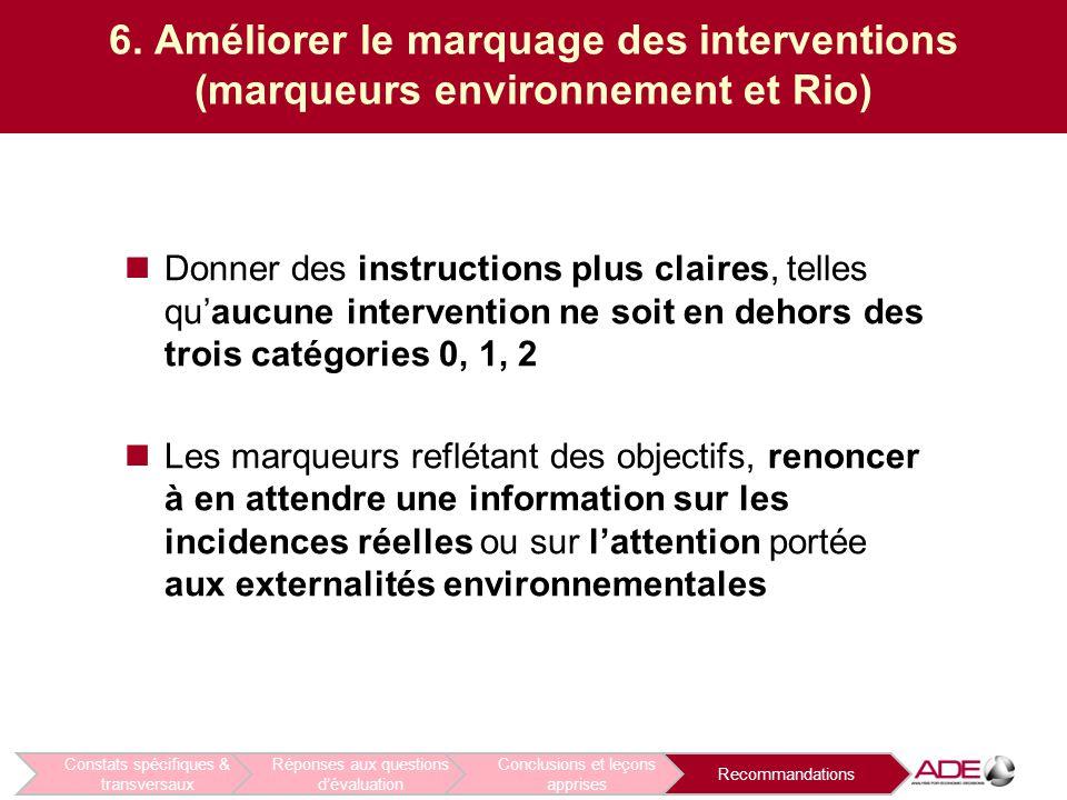 6. Améliorer le marquage des interventions (marqueurs environnement et Rio) Donner des instructions plus claires, telles qu'aucune intervention ne soi