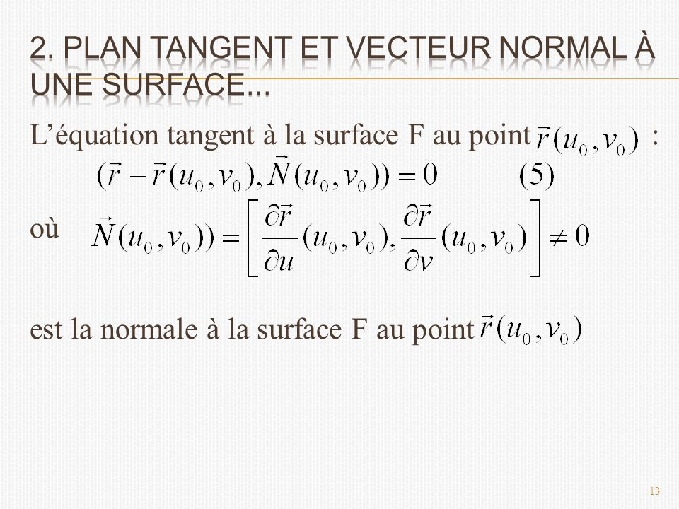 L'équation tangent à la surface F au point : où est la normale à la surface F au point 13