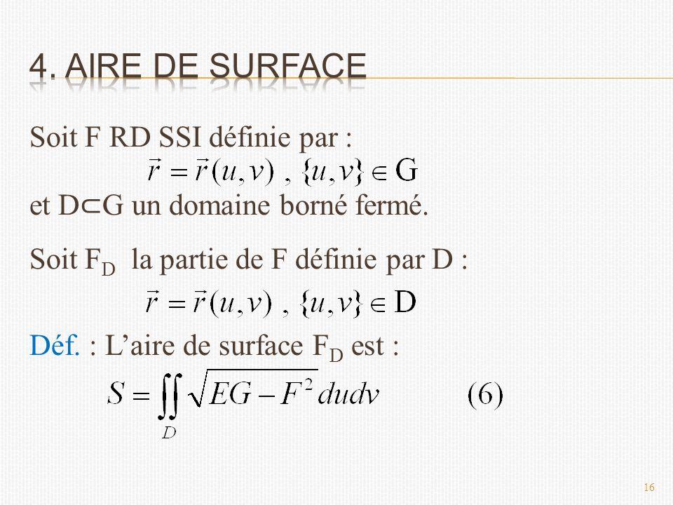 Soit F RD SSI définie par : et D ⊂ G un domaine borné fermé.