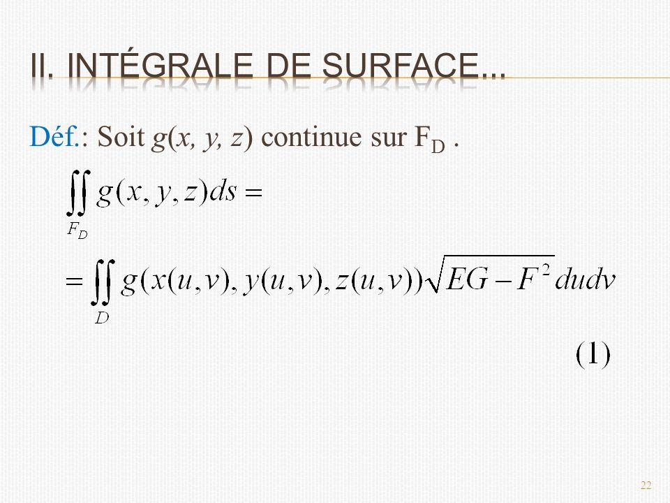Déf.: Soit g(x, y, z) continue sur F D. 22