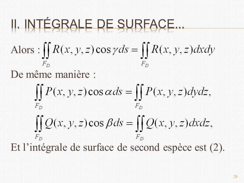 Alors : De même manière : Et l'intégrale de surface de second espèce est (2). 29