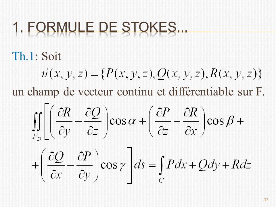 Th.1: Soit un champ de vecteur continu et différentiable sur F. 33