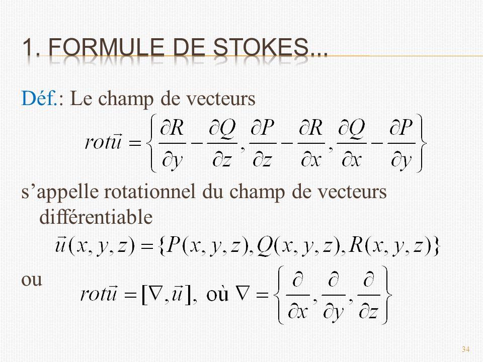 Déf.: Le champ de vecteurs s'appelle rotationnel du champ de vecteurs différentiable ou 34