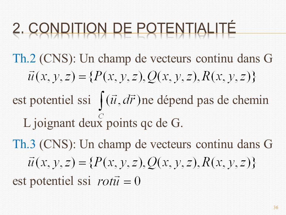 Th.2 (CNS): Un champ de vecteurs continu dans G est potentiel ssi ne dépend pas de chemin L joignant deux points qc de G.