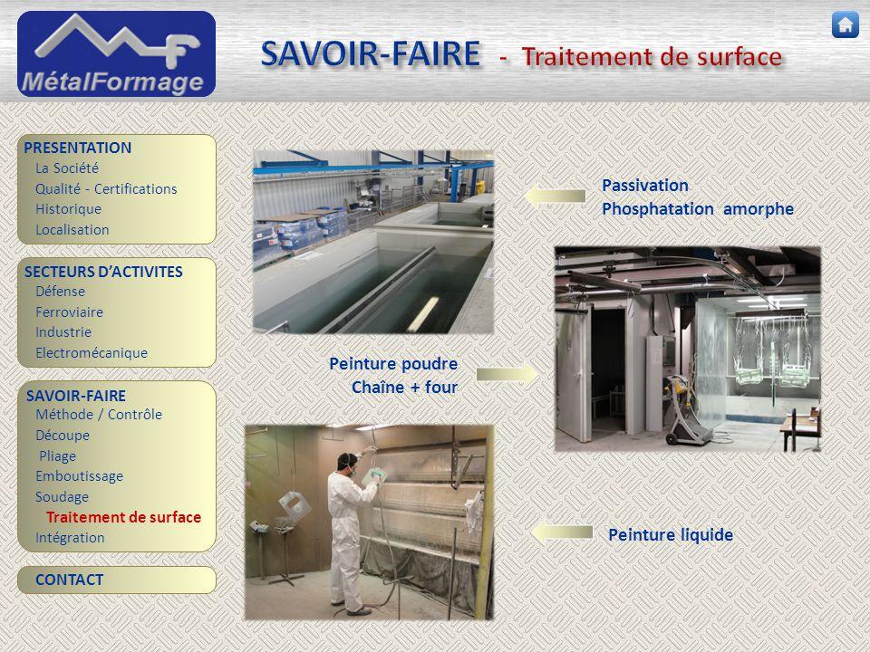 SAVOIR-FAIRE - Traitement de surface SAVOIR-FAIRE Découpe Traitement de surface PRESENTATION SECTEURS D'ACTIVITES Industrie Electromécanique Intégrati