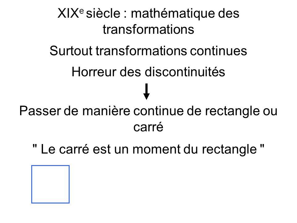 XIX e siècle : mathématique des transformations Surtout transformations continues Horreur des discontinuités Passer de manière continue de rectangle ou carré Le carré est un moment du rectangle
