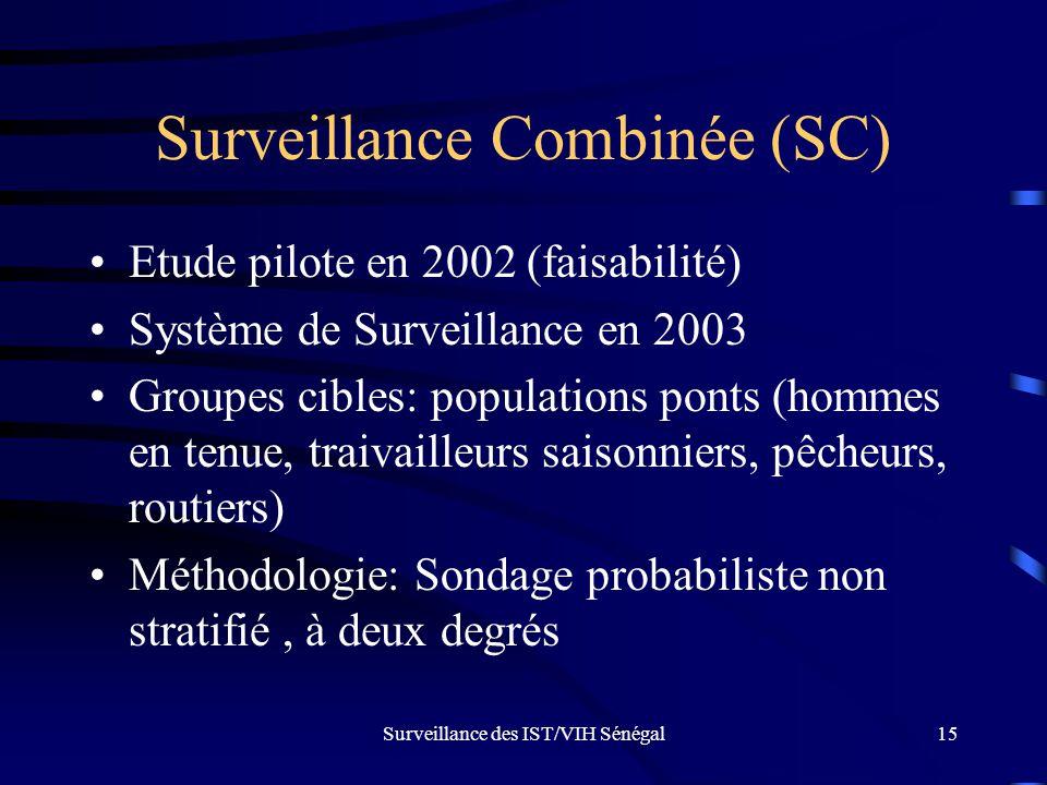Surveillance des IST/VIH Sénégal15 Surveillance Combinée (SC) Etude pilote en 2002 (faisabilité) Système de Surveillance en 2003 Groupes cibles: popul