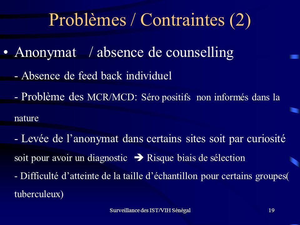 Surveillance des IST/VIH Sénégal19 Problèmes / Contraintes (2) Anonymat / absence de counselling - Absence de feed back individuel - Problème des MCR/