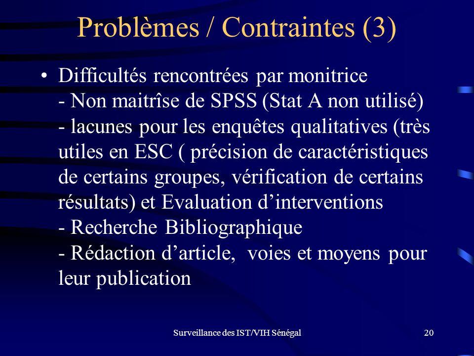 Surveillance des IST/VIH Sénégal20 Problèmes / Contraintes (3) Difficultés rencontrées par monitrice - Non maitrîse de SPSS (Stat A non utilisé) - lac