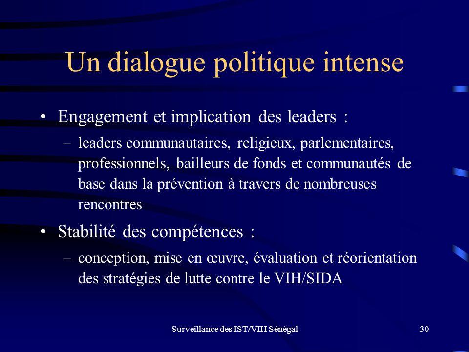 Surveillance des IST/VIH Sénégal30 Un dialogue politique intense Engagement et implication des leaders : –leaders communautaires, religieux, parlement