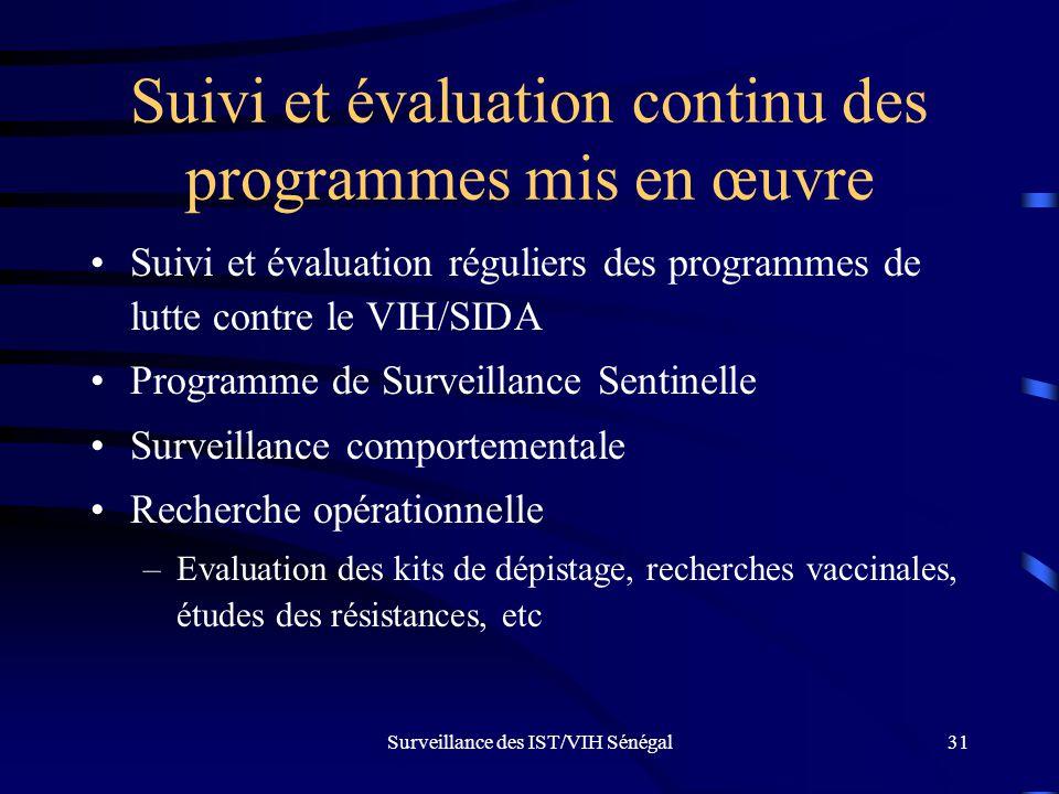 Surveillance des IST/VIH Sénégal31 Suivi et évaluation continu des programmes mis en œuvre Suivi et évaluation réguliers des programmes de lutte contr