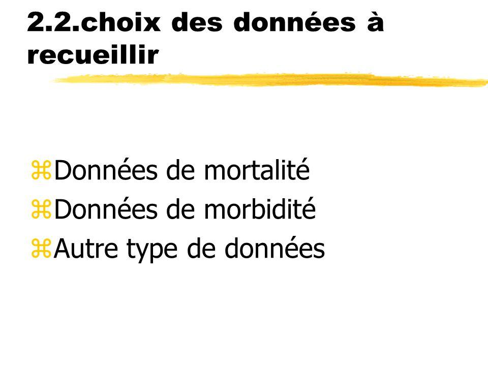 2.2.choix des données à recueillir zDonnées de mortalité zDonnées de morbidité zAutre type de données