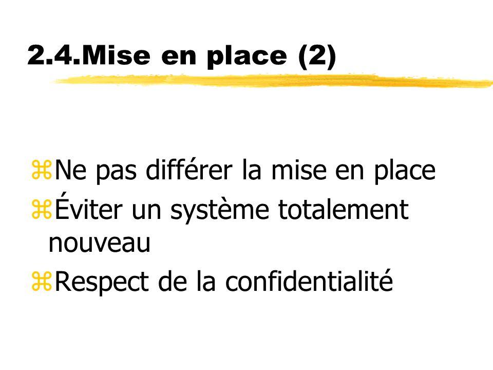 2.4.Mise en place (2) zNe pas différer la mise en place zÉviter un système totalement nouveau zRespect de la confidentialité