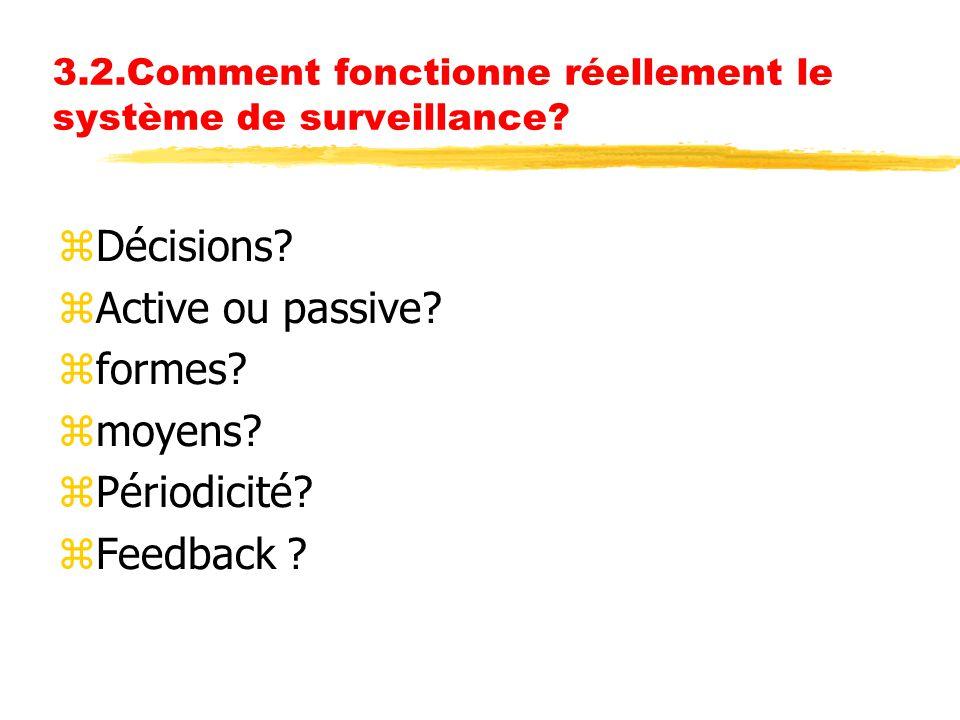 3.2.Comment fonctionne réellement le système de surveillance? zDécisions? zActive ou passive? zformes? zmoyens? zPériodicité? zFeedback ?
