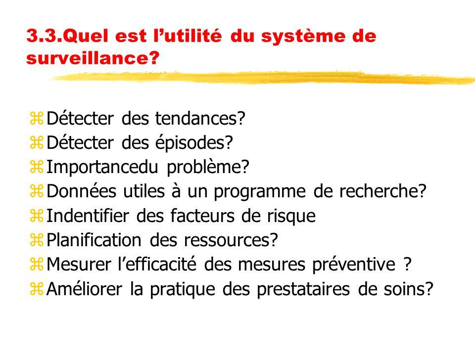 3.3.Quel est l'utilité du système de surveillance? zDétecter des tendances? zDétecter des épisodes? zImportancedu problème? zDonnées utiles à un progr