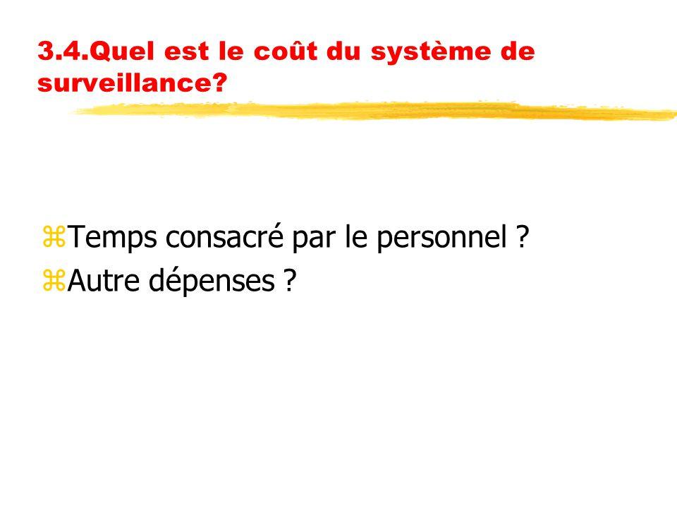 3.4.Quel est le coût du système de surveillance? zTemps consacré par le personnel ? zAutre dépenses ?