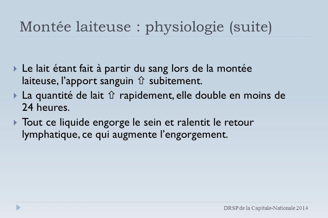 Montée laiteuse : physiologie (suite)  Le lait étant fait à partir du sang lors de la montée laiteuse, l'apport sanguin  subitement.  La quantité d