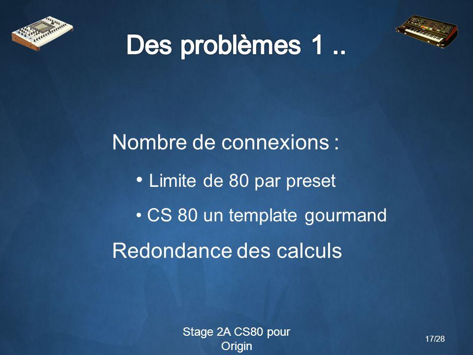 Stage 2A CS80 pour Origin Nombre de connexions : Limite de 80 par preset CS 80 un template gourmand Redondance des calculs 17/28