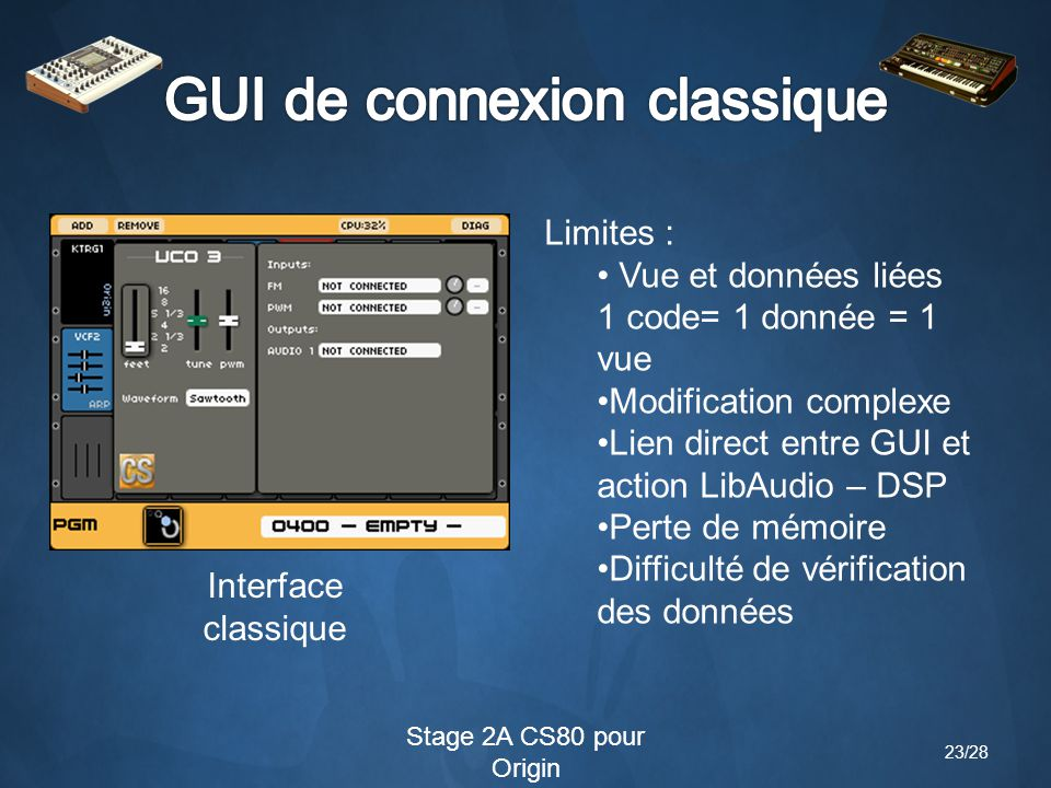 Stage 2A CS80 pour Origin Limites : Vue et données liées 1 code= 1 donnée = 1 vue Modification complexe Lien direct entre GUI et action LibAudio – DSP Perte de mémoire Difficulté de vérification des données Interface classique 23/28
