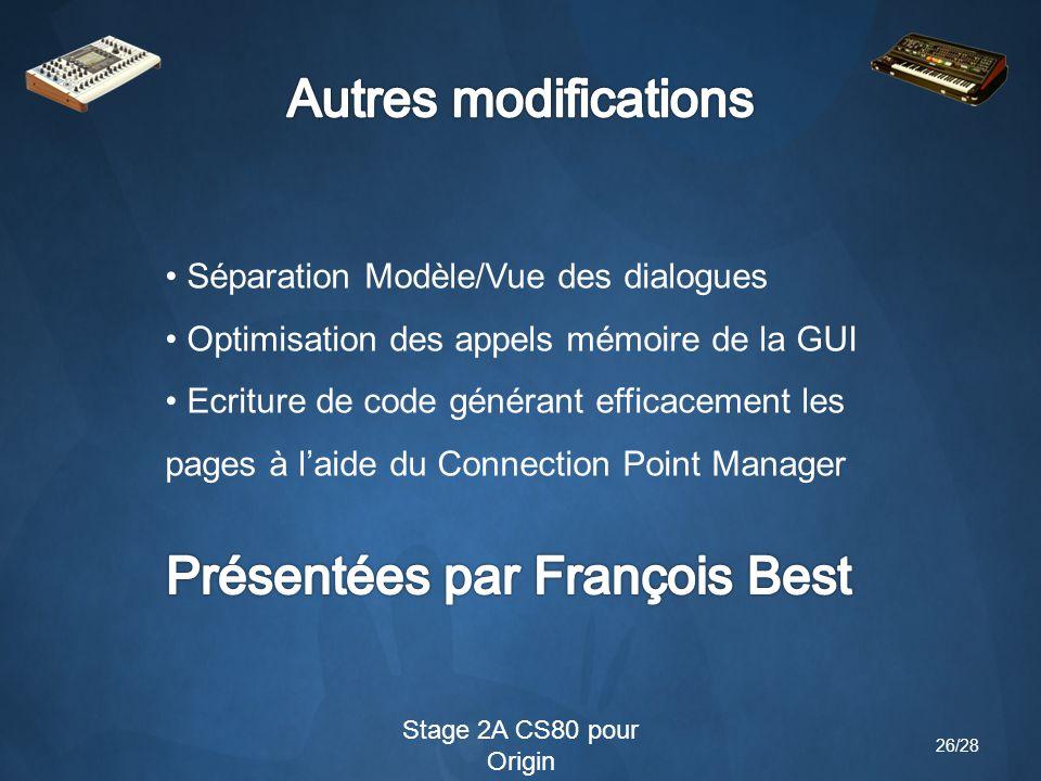 Stage 2A CS80 pour Origin Séparation Modèle/Vue des dialogues Optimisation des appels mémoire de la GUI Ecriture de code générant efficacement les pages à l'aide du Connection Point Manager 26/28