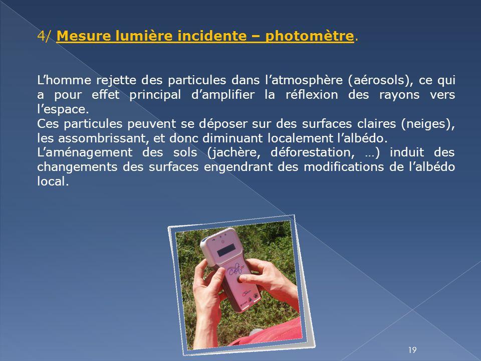 19 4/ Mesure lumière incidente – photomètre. L'homme rejette des particules dans l'atmosphère (aérosols), ce qui a pour effet principal d'amplifier la