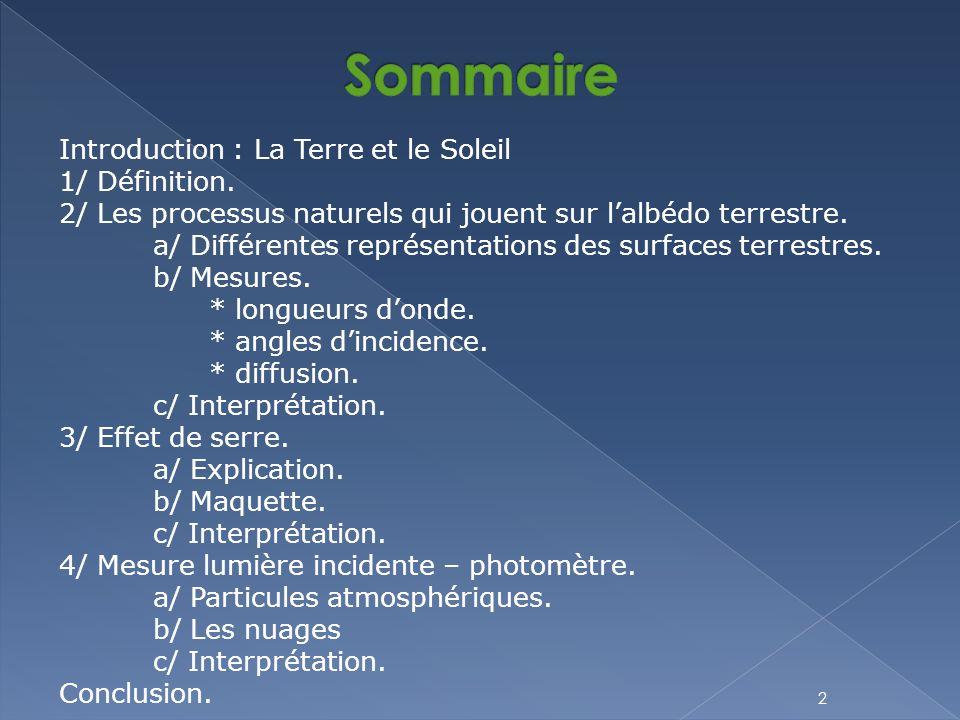 2 Introduction : La Terre et le Soleil 1/ Définition. 2/ Les processus naturels qui jouent sur l'albédo terrestre. a/ Différentes représentations des