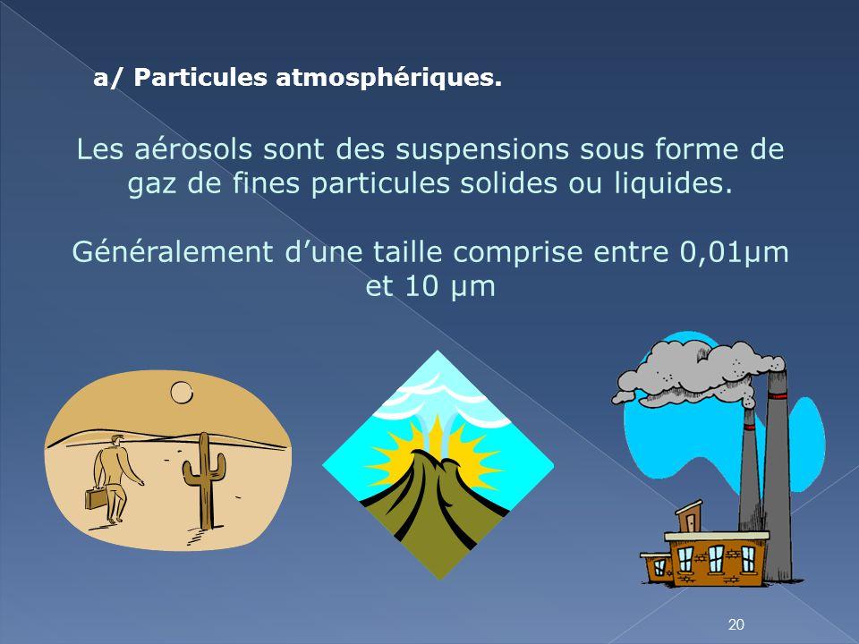 Les aérosols sont des suspensions sous forme de gaz de fines particules solides ou liquides. Généralement d'une taille comprise entre 0,01µm et 10 µm