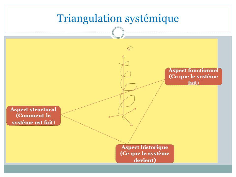 Triangulation systémique Aspect fonctionnel (Ce que le système fait) Aspect historique (Ce que le système devient ) Aspect structural (Comment le système est fait )