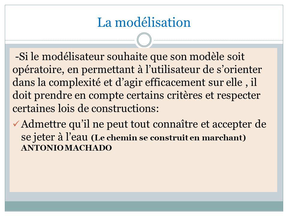La modélisation -Si le modélisateur souhaite que son modèle soit opératoire, en permettant à l'utilisateur de s'orienter dans la complexité et d'agir efficacement sur elle, il doit prendre en compte certains critères et respecter certaines lois de constructions: Admettre qu'il ne peut tout connaître et accepter de se jeter à l'eau (Le chemin se construit en marchant) ANTONIO MACHADO