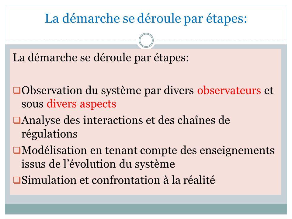 La démarche se déroule par étapes:  Observation du système par divers observateurs et sous divers aspects  Analyse des interactions et des chaînes de régulations  Modélisation en tenant compte des enseignements issus de l'évolution du système  Simulation et confrontation à la réalité