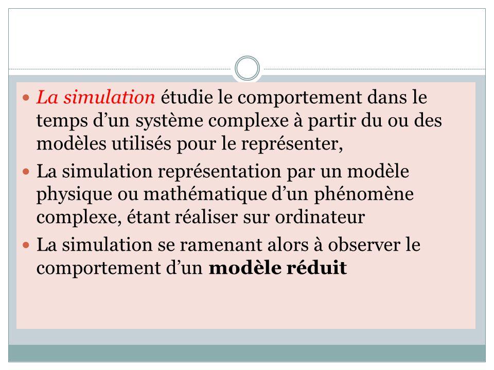 La simulation étudie le comportement dans le temps d'un système complexe à partir du ou des modèles utilisés pour le représenter, La simulation représentation par un modèle physique ou mathématique d'un phénomène complexe, étant réaliser sur ordinateur La simulation se ramenant alors à observer le comportement d'un modèle réduit