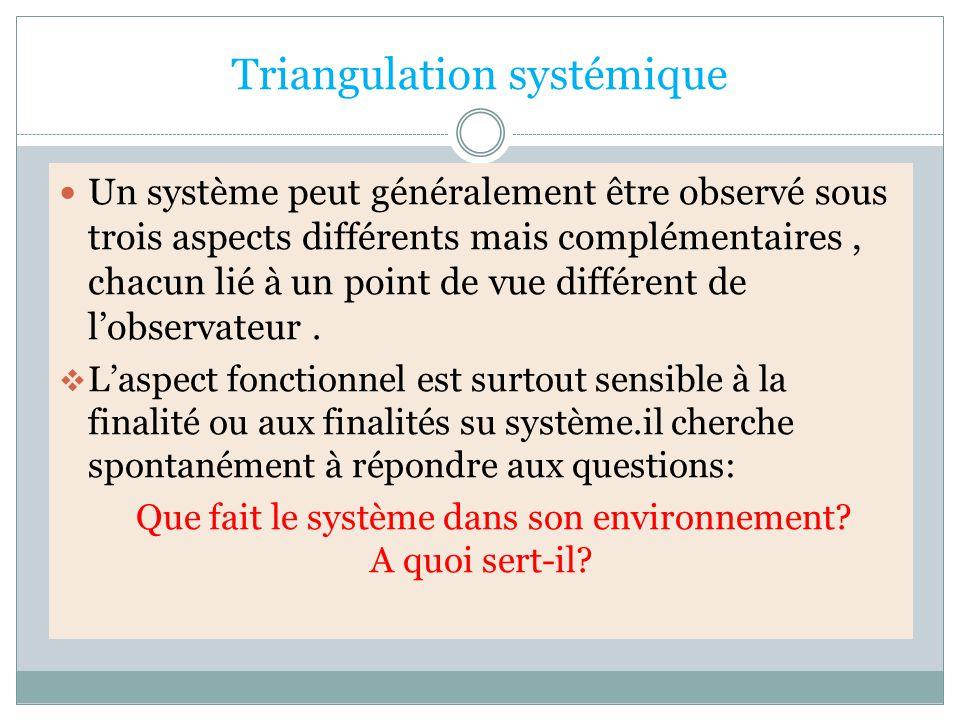 Triangulation systémique Un système peut généralement être observé sous trois aspects différents mais complémentaires, chacun lié à un point de vue différent de l'observateur.