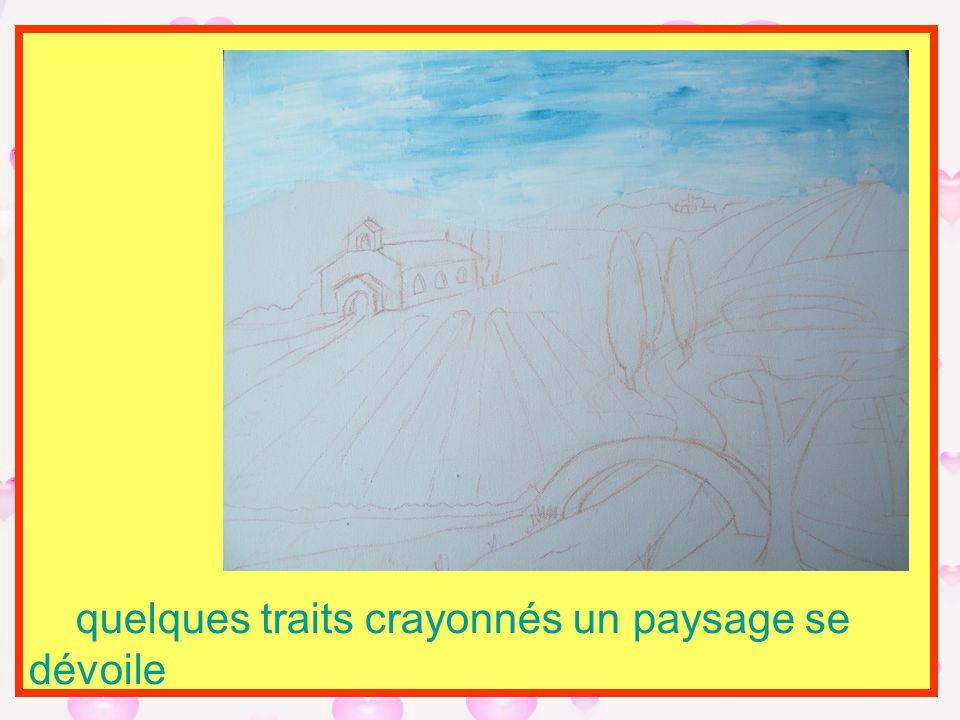 quelques traits crayonnés un paysage se dévoile