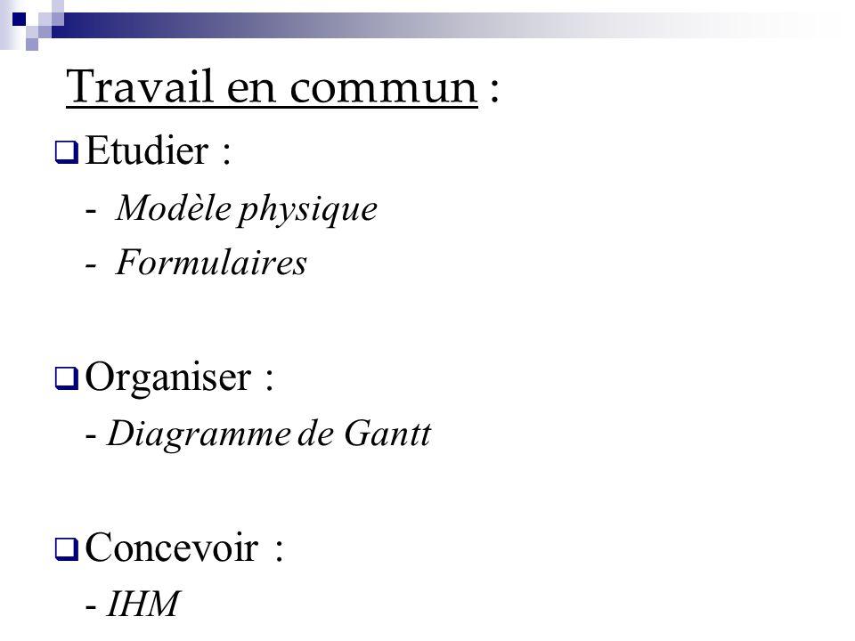 Travail en commun :  Etudier : - Modèle physique - Formulaires  Organiser : - Diagramme de Gantt  Concevoir : - IHM