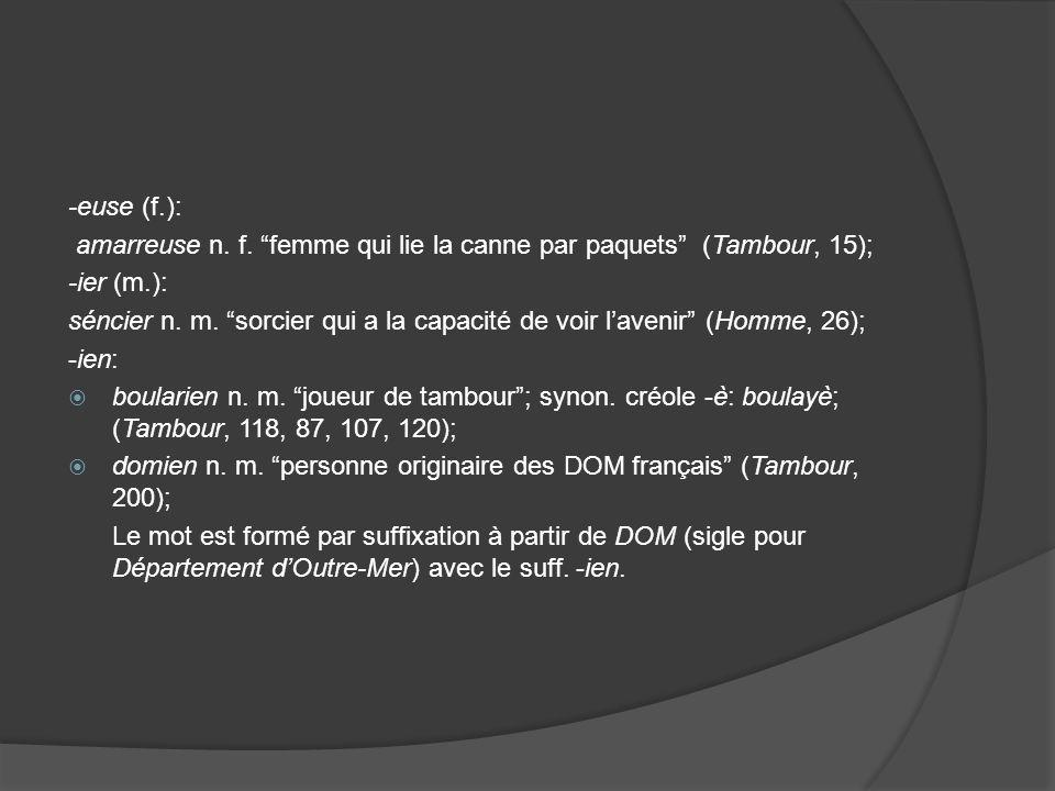 -euse (f.): amarreuse n. f.