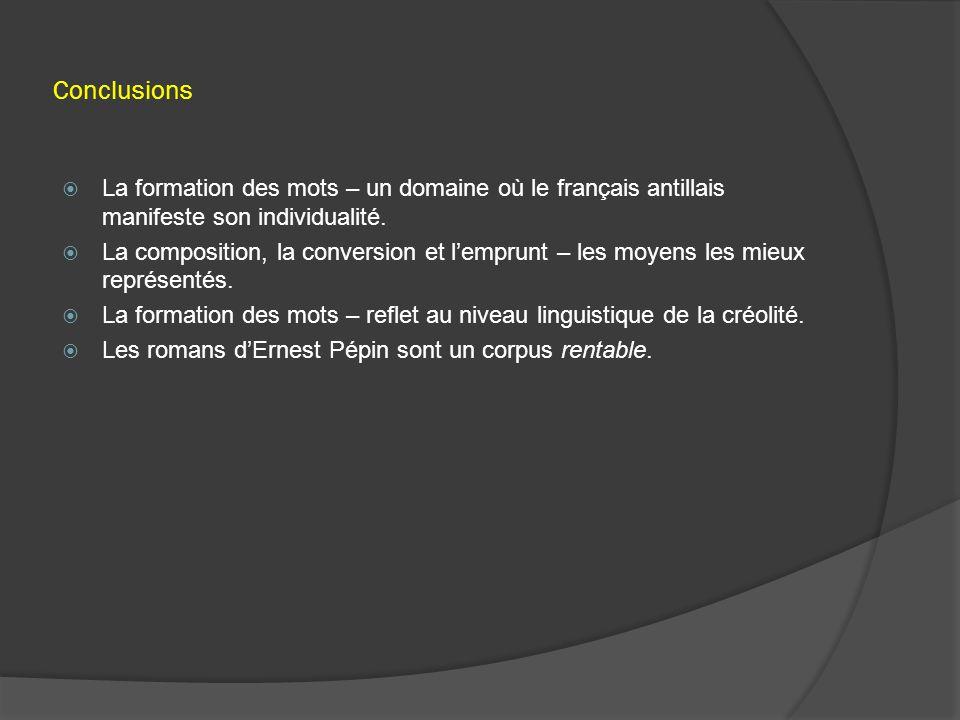 Conclusions  La formation des mots – un domaine où le français antillais manifeste son individualité.