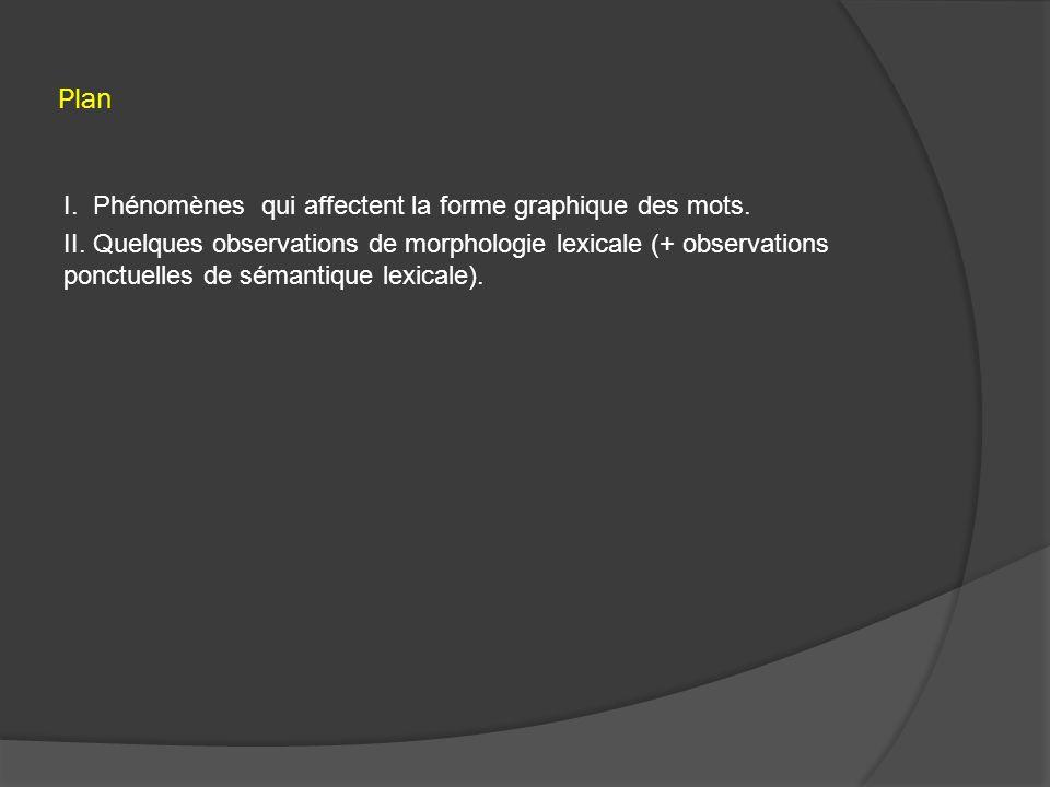 Plan I. Phénomènes qui affectent la forme graphique des mots.