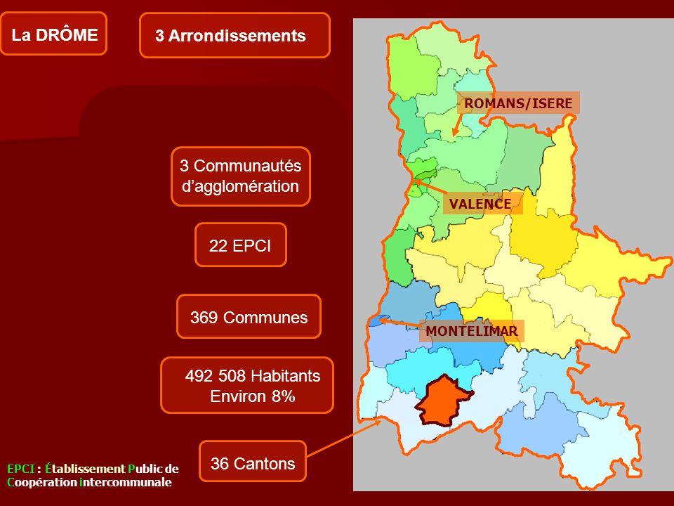Arrondissement de Valence 16 cantons Arrondissement de Die 9 cantons Arrondissement de Nyons 11 cantons 369 Communes 492 508 Habitants Environ 8% La D