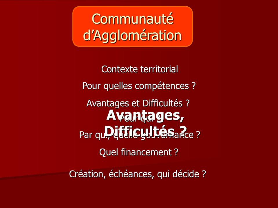 Pour qui ? Création, échéances, qui décide ? Contexte territorial Avantages et Difficultés ? Par qui, quelle gouvernance ? Quel financement ? Avantage