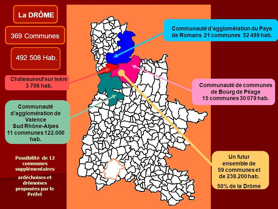 369 CommunesLa DRÔME Châteauneuf sur Isère 3 706 hab. Communauté d'agglomération de Valence Sud Rhône-Alpes 11 communes 122.000 hab. Communauté de com
