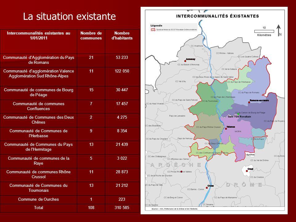 La situation existante Intercommunalités existantes au 1/01/2011 Nombre de communes Nombre d'habitants Communauté d'Agglomération du Pays de Romans 21