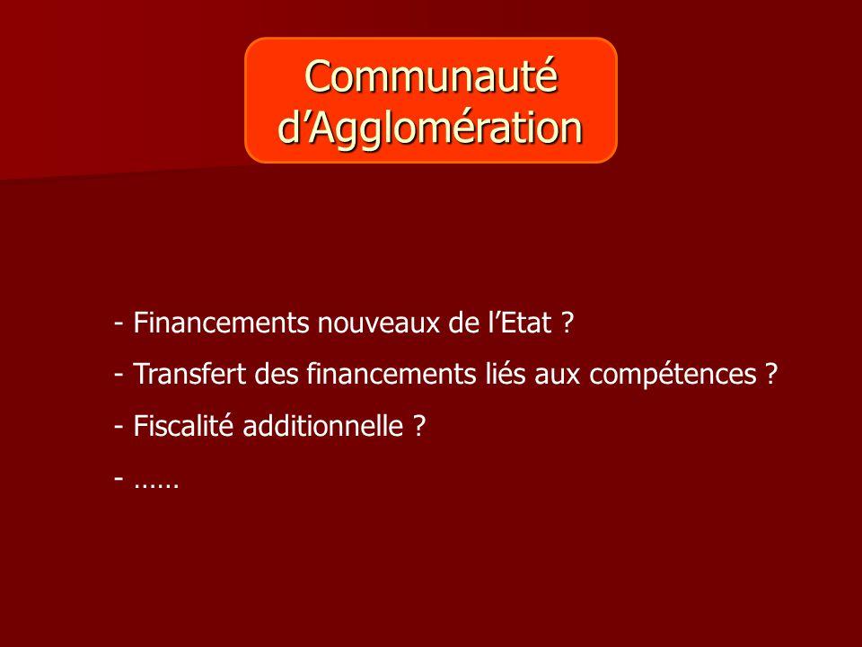 Communautéd'Agglomération - Financements nouveaux de l'Etat ? - Transfert des financements liés aux compétences ? - Fiscalité additionnelle ? - ……