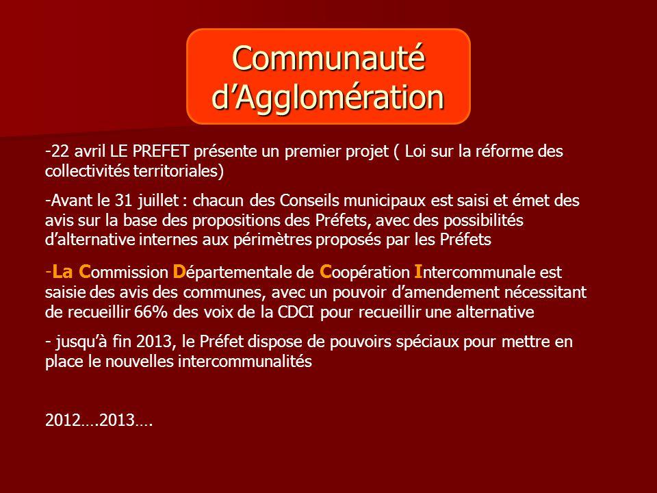 Communautéd'Agglomération -22 avril LE PREFET présente un premier projet ( Loi sur la réforme des collectivités territoriales) -Avant le 31 juillet :